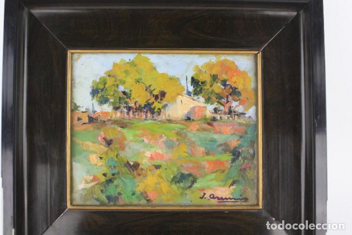 Arte: Joaquin Asensio, paisaje, pintura al óleo sobre madera, firmado, con marco. 26x22cm - Foto 2 - 221653348