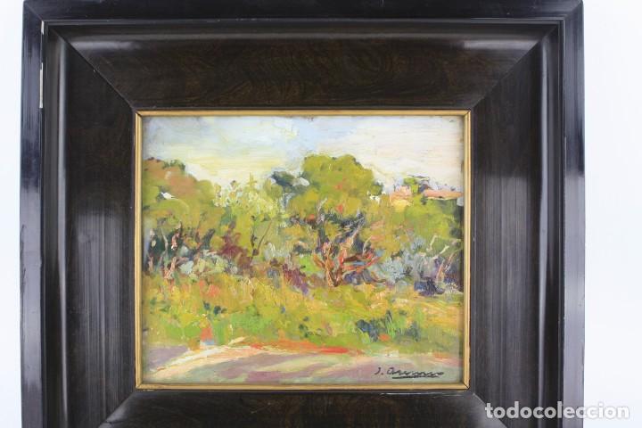 Arte: Joaquin Asensio, paisaje con casa, pintura al óleo sobre madera, firmado, con marco. 26,5x22,5cm - Foto 2 - 221653640