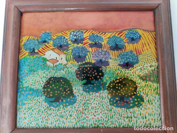 Arte: Interesante obra estilo Evaristo Guerra pintada en cristal. - Foto 3 - 221707428