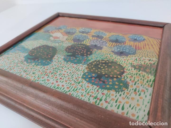 Arte: Interesante obra estilo Evaristo Guerra pintada en cristal. - Foto 4 - 221707428