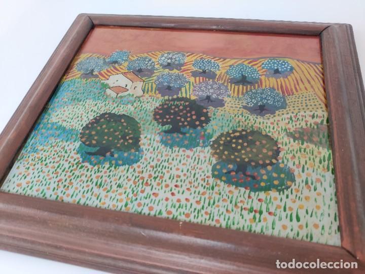 Arte: Interesante obra estilo Evaristo Guerra pintada en cristal. - Foto 5 - 221707428