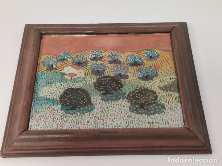 Arte: Interesante obra estilo Evaristo Guerra pintada en cristal. - Foto 6 - 221707428