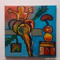 Arte: PINTURA AL OLEO ORIGINAL. LA SETA EL HELADO Y EL NIÑO. Lote 199414650