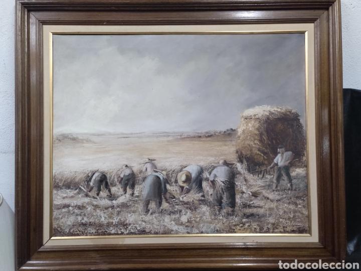 Arte: Óleo sobre lienzo los segadores firmado Blanco. PF - Foto 6 - 195677386