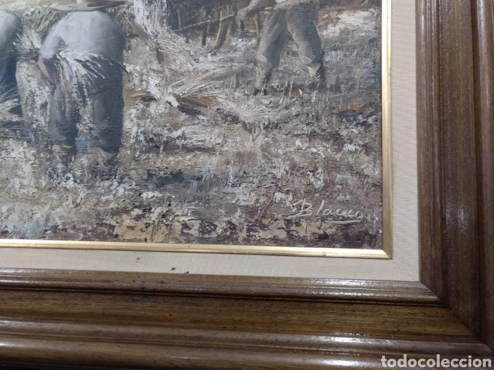 Arte: Óleo sobre lienzo los segadores firmado Blanco. PF - Foto 7 - 195677386