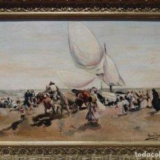 Arte: JUAN MEZQUITA ALMER: ESCENA PESQUERA/PLAYERA VALENCIANA, ÓLEO SOBRE TABLA, COSTUMBRISTA, FIRMA, 1903. Lote 221879981