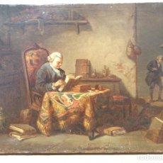 Arte: ESCUELA FRANCESA O INGLESA, FINALES DEL SIGLO XVIII, LECTOR A SU MESA DE ESTUDIOS, ESTILO DE CHARDIN. Lote 221881668