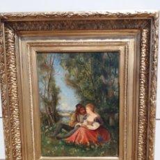 Arte: HENRI CHARLES ANTOINE BARON (1816-1885) : ESCENA GALANTE, ÓLEO SOBRE TABLA, ROMANTICISMO FRANCÉS XIX. Lote 221881932