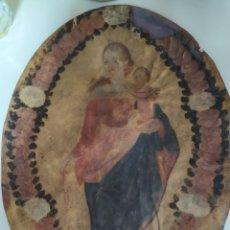 Arte: VIRGEN DEL ROSARIO XVII ÓLEO SOBRE PIEL. Lote 221887255