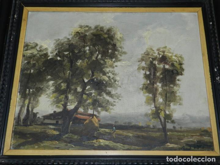 (M) RAFAEL FERNÁNDEZ DE SOTO ANTIGUO PAISAJE ÓLEO SOBRE TELA OLOT MCMXLVII DE SOTO . (Arte - Pintura - Pintura al Óleo Moderna siglo XIX)