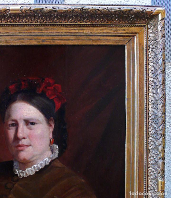 Arte: COLLINET JOSEPH PORTRAIT FEMME WOMAN S.XIX MAGNIFICO GRAN RETRATO DE MUJER JOVEN OLEO MARCO DORADO - Foto 5 - 221955420