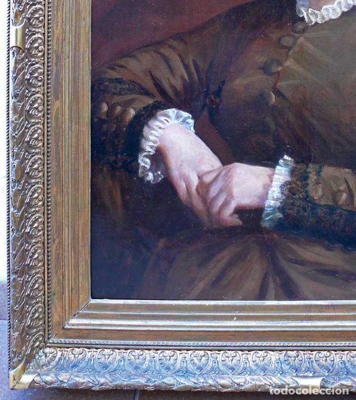 Arte: COLLINET JOSEPH PORTRAIT FEMME WOMAN S.XIX MAGNIFICO GRAN RETRATO DE MUJER JOVEN OLEO MARCO DORADO - Foto 7 - 221955420