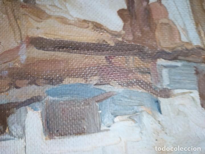 Arte: OLEO SOBRE TABLA PAISAJE PUEBLO CASAS FIRMA ILEGIBLE SE AGRADECE INFORMACIÓN - Foto 3 - 221980705