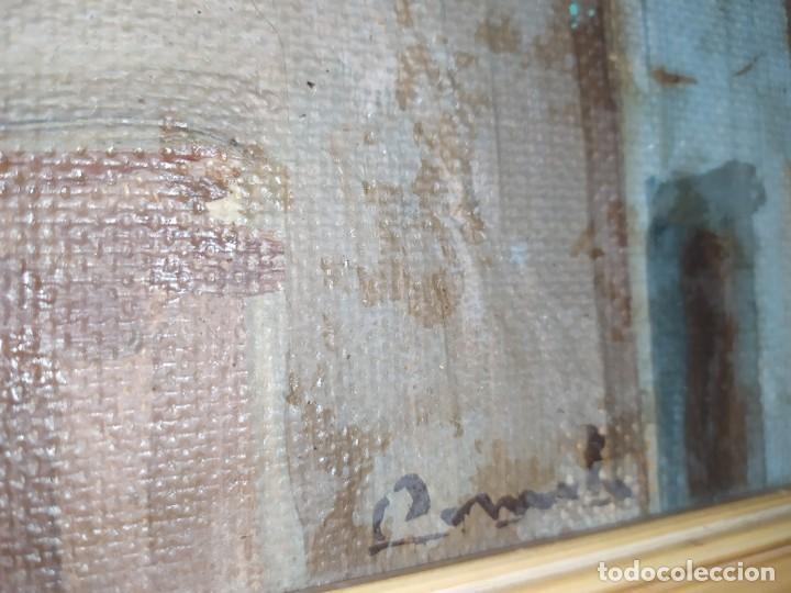 Arte: OLEO SOBRE TABLA PAISAJE PUEBLO CASAS FIRMA ILEGIBLE SE AGRADECE INFORMACIÓN - Foto 7 - 221980705