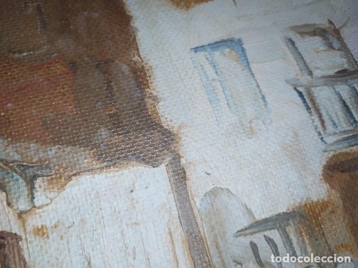 Arte: OLEO SOBRE TABLA PAISAJE PUEBLO CASAS FIRMA ILEGIBLE SE AGRADECE INFORMACIÓN - Foto 9 - 221980705