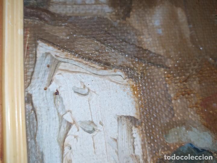 Arte: OLEO SOBRE TABLA PAISAJE PUEBLO CASAS FIRMA ILEGIBLE SE AGRADECE INFORMACIÓN - Foto 10 - 221980705