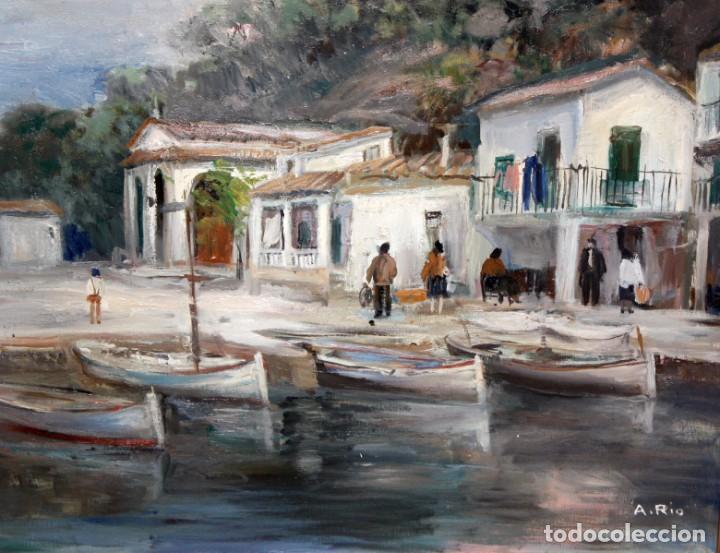 AGUSTIN RIO NAVARRO (BARCELONA, 1923-1997) OLEO SOBRE TELA. PAISAJE COSTERO CON FIGURAS (Arte - Pintura - Pintura al Óleo Contemporánea )