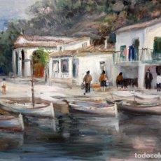 Arte: AGUSTIN RIO NAVARRO (BARCELONA, 1923-1997) OLEO SOBRE TELA. PAISAJE COSTERO CON FIGURAS. Lote 221987956