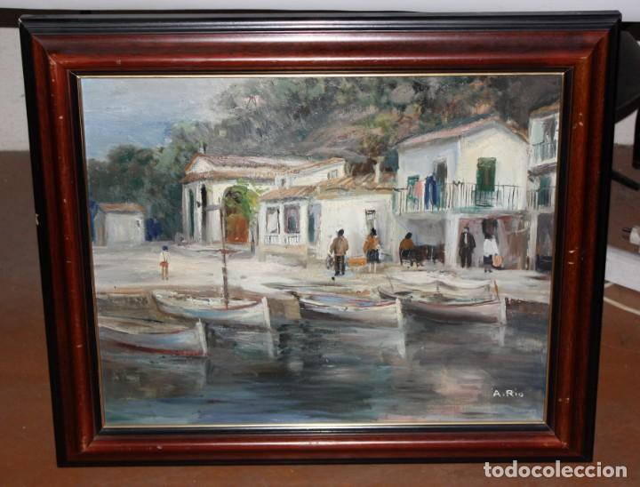 Arte: AGUSTIN RIO NAVARRO (BARCELONA, 1923-1997) OLEO SOBRE TELA. PAISAJE COSTERO CON FIGURAS - Foto 2 - 221987956