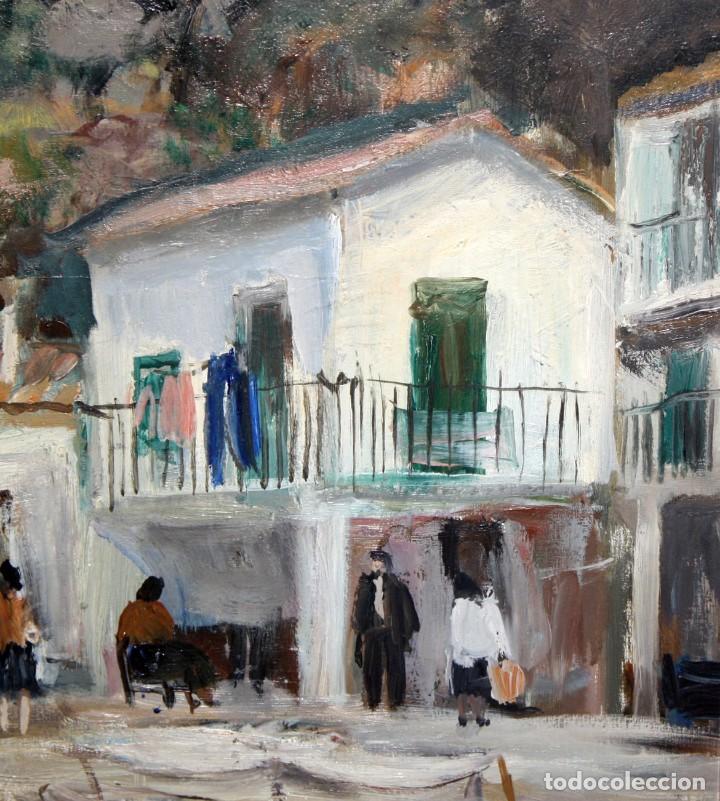 Arte: AGUSTIN RIO NAVARRO (BARCELONA, 1923-1997) OLEO SOBRE TELA. PAISAJE COSTERO CON FIGURAS - Foto 3 - 221987956