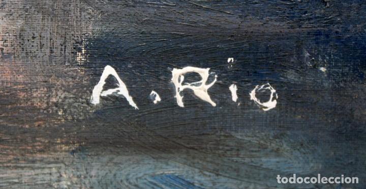 Arte: AGUSTIN RIO NAVARRO (BARCELONA, 1923-1997) OLEO SOBRE TELA. PAISAJE COSTERO CON FIGURAS - Foto 9 - 221987956