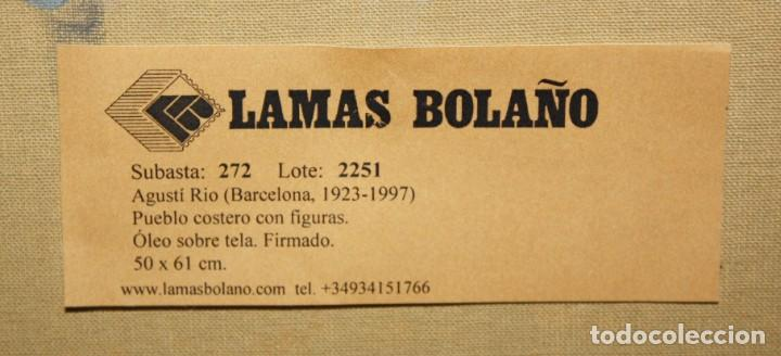 Arte: AGUSTIN RIO NAVARRO (BARCELONA, 1923-1997) OLEO SOBRE TELA. PAISAJE COSTERO CON FIGURAS - Foto 12 - 221987956