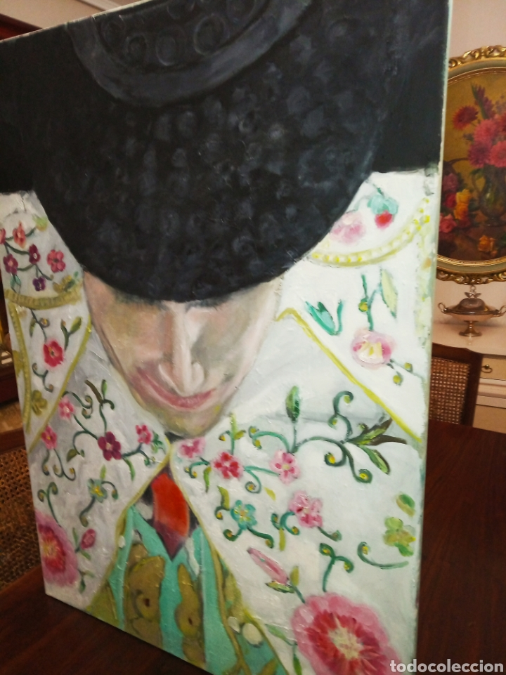 Arte: Cuadro grande óleo sobre lienzo torero impresionista tauromaquia toros Jesús Javier Arias - Foto 3 - 222087227