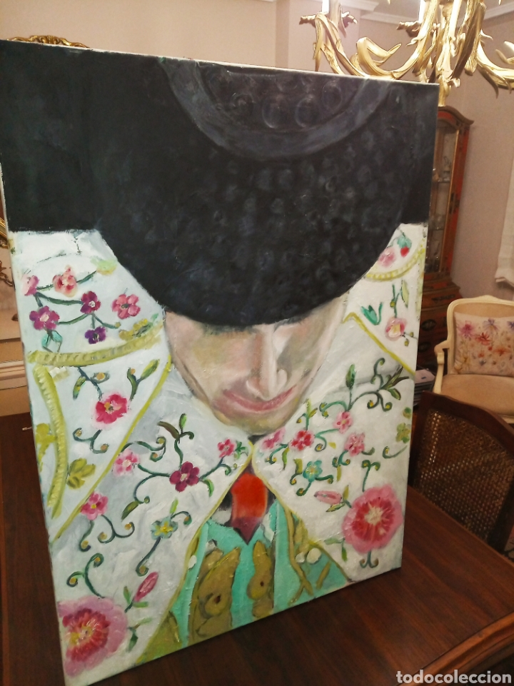 Arte: Cuadro grande óleo sobre lienzo torero impresionista tauromaquia toros Jesús Javier Arias - Foto 4 - 222087227