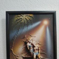 Arte: PRECIOSO CUADRO PAREJA EN LA ARENA, VINTAGE, RARO, ÚNICO, SOBRE LIENZO Y EN RELIEVE.. Lote 222088646