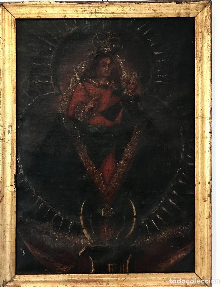 ÓLEO DEL SIGLO XVIII - VIRGEN CON NIÑO - 71X52X3CM (Arte - Pintura - Pintura al Óleo Antigua siglo XVIII)