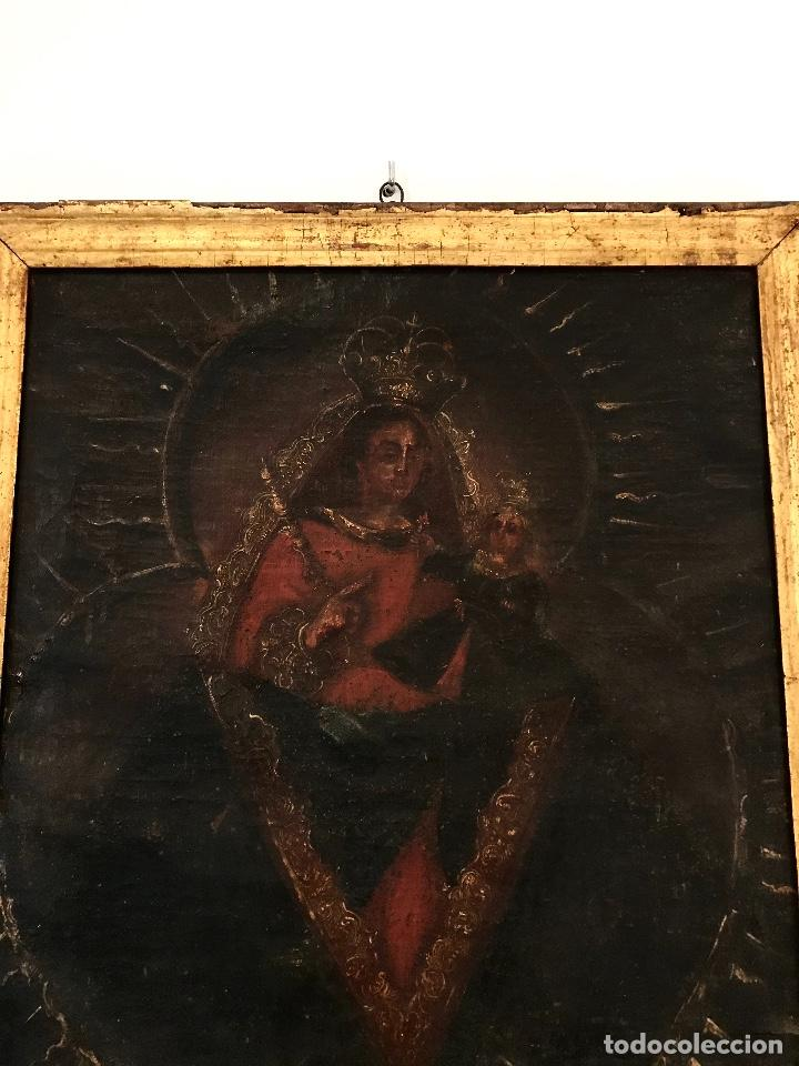 Arte: óleo del Siglo XVIII - Virgen con niño - 71x52x3cm - Foto 2 - 222095861