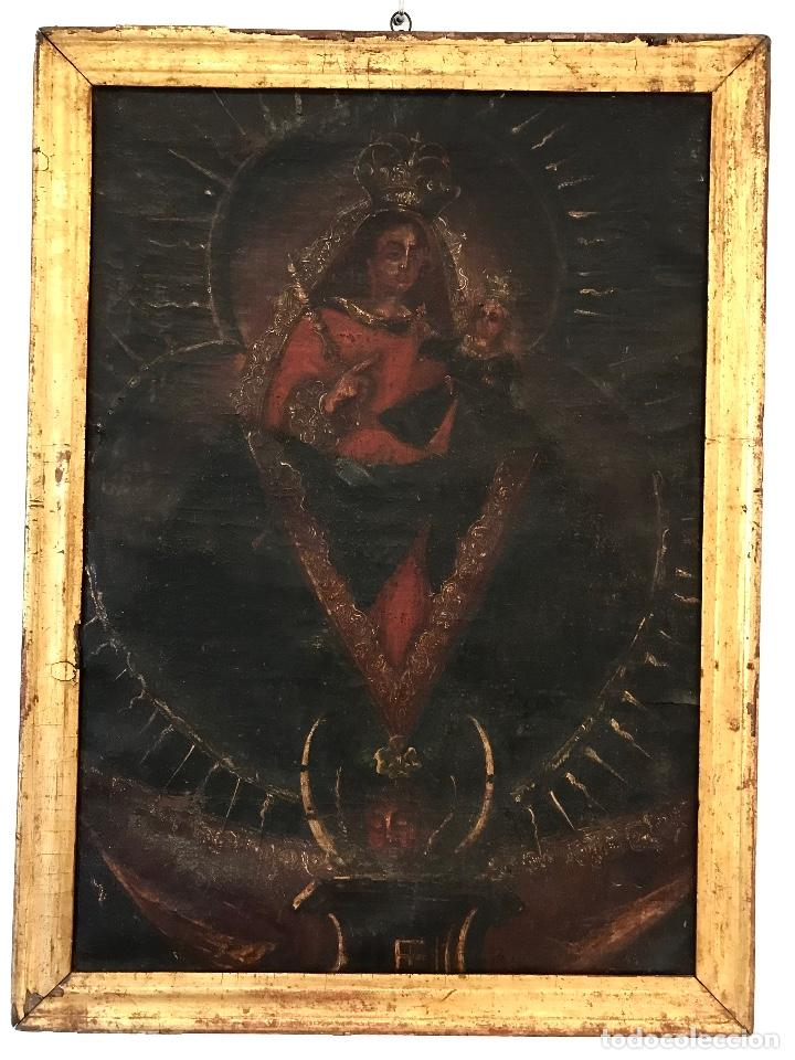 Arte: óleo del Siglo XVIII - Virgen con niño - 71x52x3cm - Foto 6 - 222095861