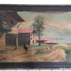 Arte: PINTURA DE JUAN BAYON SALADO, BAY SALA, OLEO SOBRE CARTON RIGIDO, PAISAJE RURAL VASCO.. Lote 222131660