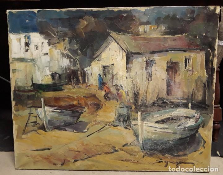 PINTURA AL ÓLEO DE LA PLAYA DE VILASSAR DE MAR. FIRMADO ISABEL BRAGANZA (Arte - Pintura - Pintura al Óleo Moderna sin fecha definida)