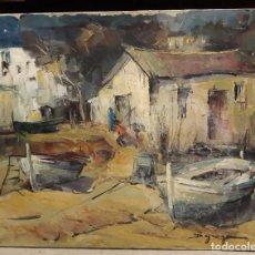 Arte: PINTURA AL ÓLEO DE LA PLAYA DE VILASSAR DE MAR. FIRMADO ISABEL BRAGANZA. Lote 222145832