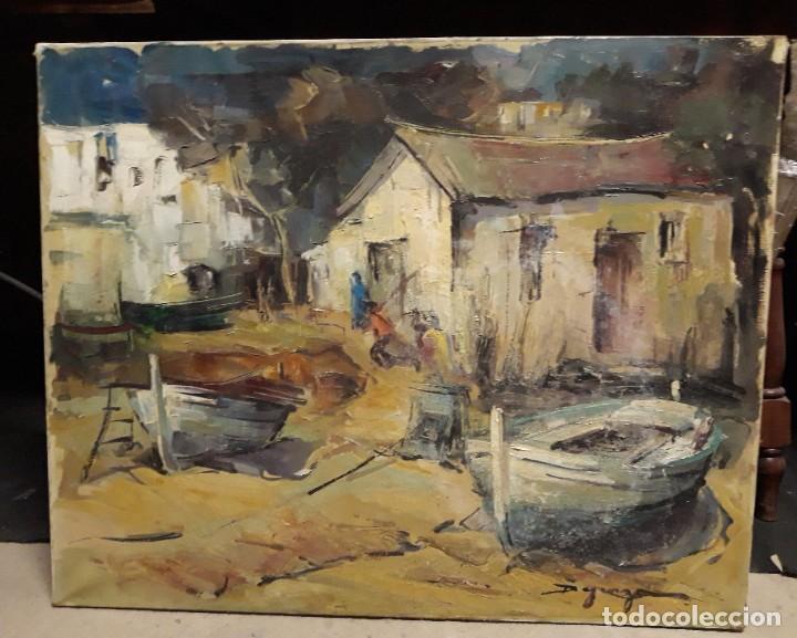 Arte: Pintura al óleo de la playa de Vilassar de Mar. Firmado Isabel Braganza - Foto 2 - 222145832