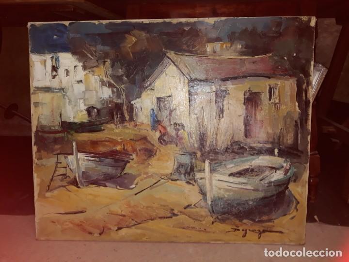 Arte: Pintura al óleo de la playa de Vilassar de Mar. Firmado Isabel Braganza - Foto 3 - 222145832