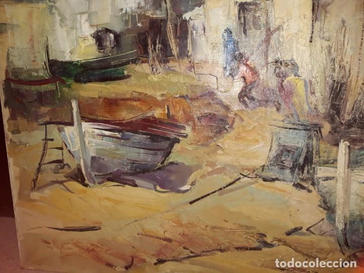 Arte: Pintura al óleo de la playa de Vilassar de Mar. Firmado Isabel Braganza - Foto 5 - 222145832
