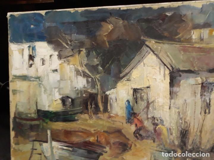 Arte: Pintura al óleo de la playa de Vilassar de Mar. Firmado Isabel Braganza - Foto 6 - 222145832