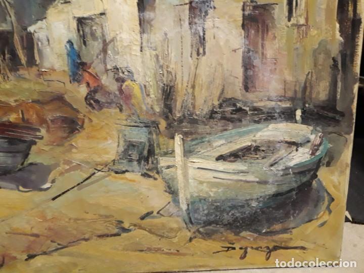 Arte: Pintura al óleo de la playa de Vilassar de Mar. Firmado Isabel Braganza - Foto 8 - 222145832