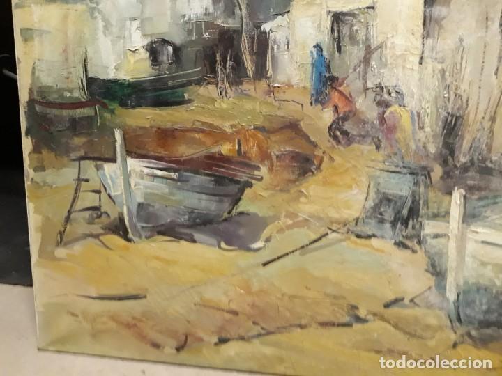 Arte: Pintura al óleo de la playa de Vilassar de Mar. Firmado Isabel Braganza - Foto 9 - 222145832