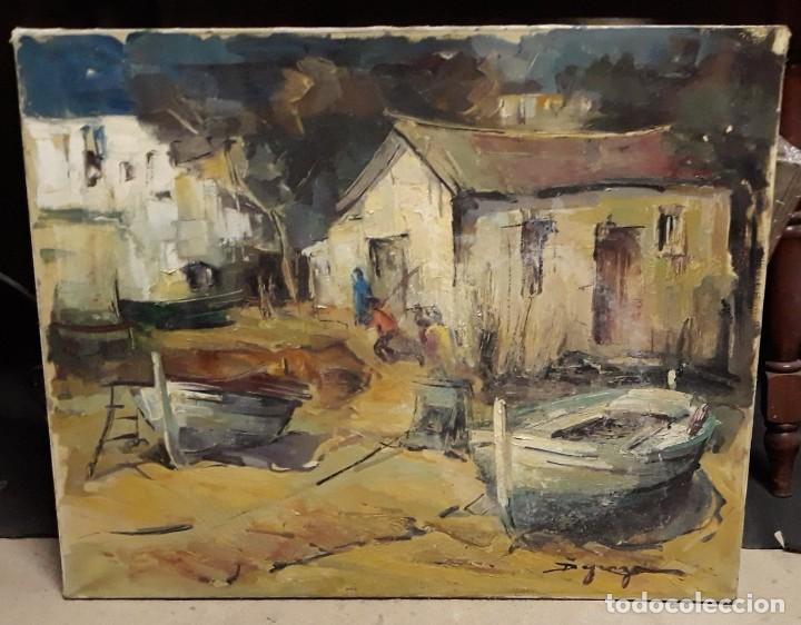 Arte: Pintura al óleo de la playa de Vilassar de Mar. Firmado Isabel Braganza - Foto 10 - 222145832