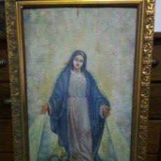 Arte: ANTIGUA PINTURA RELIGIOSA SIGLO XIX ,OLEO SOBRE TABALA DE MADERA. Lote 222191010