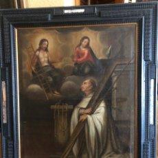 Arte: SAN BERNARDO DE CLARAVAL,EN UNA VISIÓN DE CRISTO Y LA VIRGEN. OLEO SOBRE LIENZO. SIGLO XVII. Lote 222225683