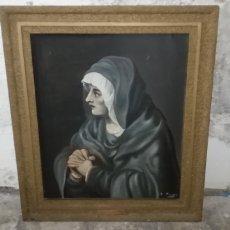 Arte: ANTIGUO ÓLEO SOBRE LIENZO LA DOLOROSA, A. MANCERA, AÑO 1912.. Lote 222257601