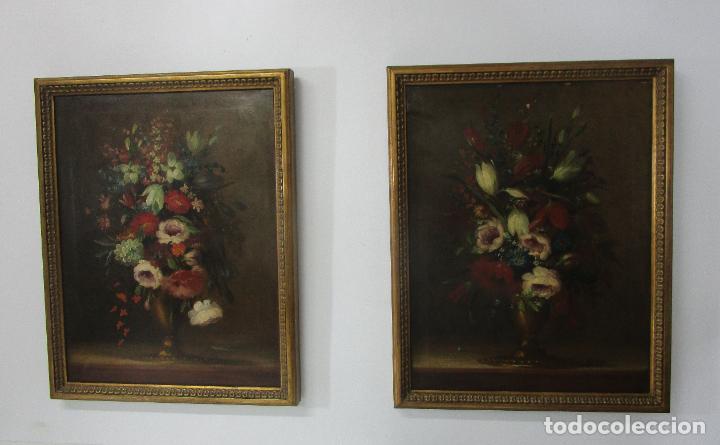 PAREJA DE BODEGONES - ESCUELA ESPAÑOLA - BODEGÓN ESTILO JUAN ARELLANO - ÓLEO SOBRE TELA - S. XVIII (Arte - Pintura - Pintura al Óleo Antigua siglo XVIII)