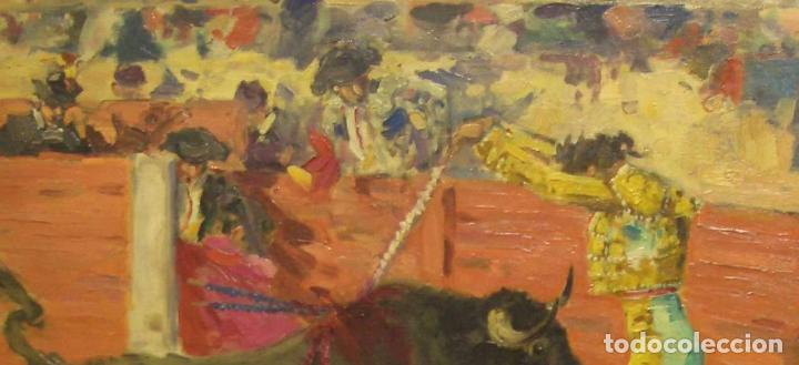 Arte: JOAQUIN TERRUELLA. ESCENA TAURINA. OLEO SOBRE TELA. FIRMADO. 50 x 60 cm - Foto 2 - 222311517