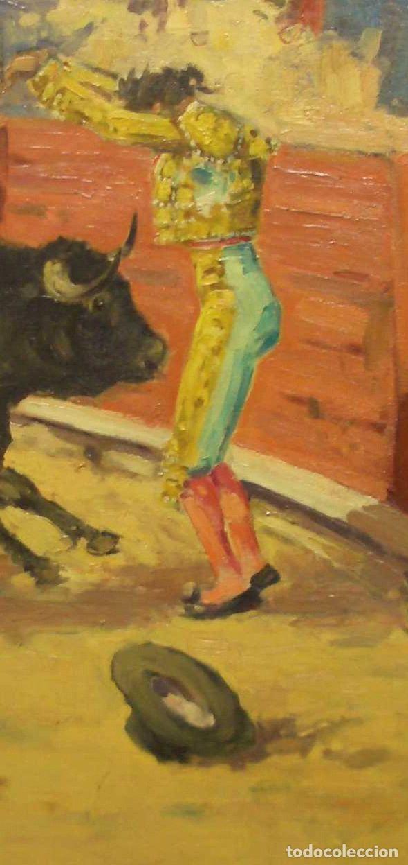 Arte: JOAQUIN TERRUELLA. ESCENA TAURINA. OLEO SOBRE TELA. FIRMADO. 50 x 60 cm - Foto 3 - 222311517
