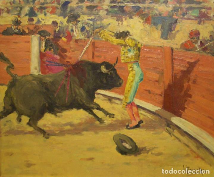 JOAQUIN TERRUELLA. ESCENA TAURINA. OLEO SOBRE TELA. FIRMADO. 50 X 60 CM (Arte - Pintura - Pintura al Óleo Moderna siglo XIX)
