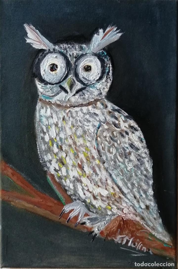 Arte: Cuadro, Búho, lechuza, pintura óleo sobre tela. Firmado. - Foto 2 - 222340761